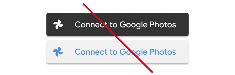 Screenshot of unacceptable usage of color modification to the                   Google Photos icon
