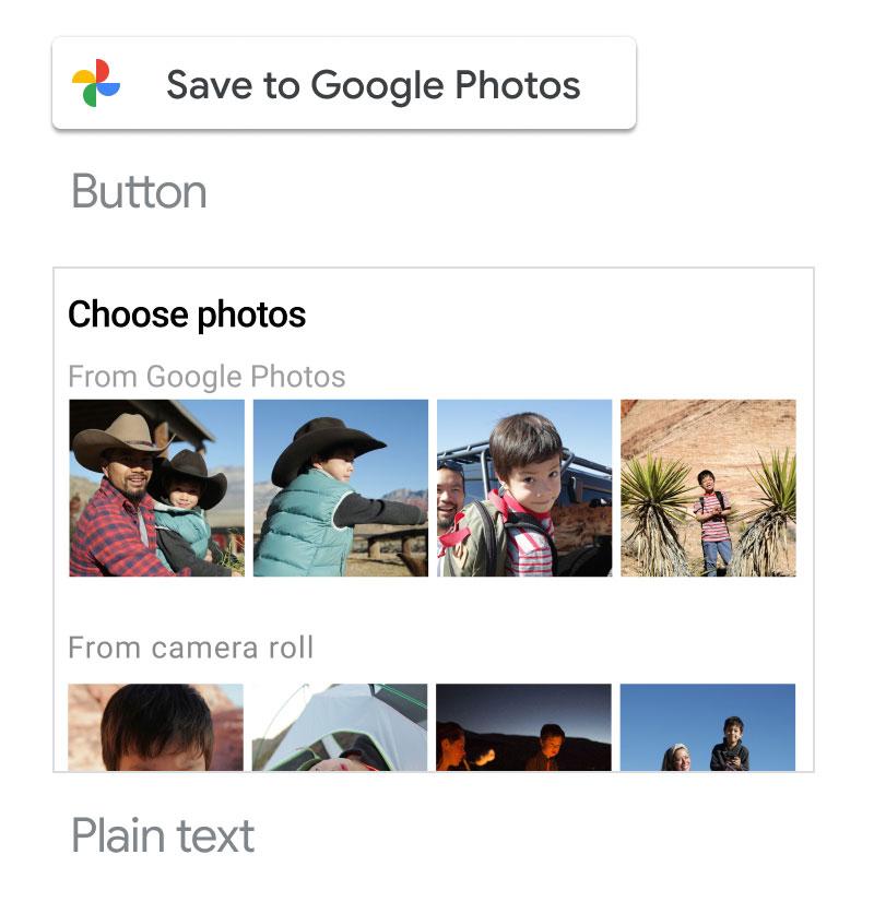 Screenshot of using acceptable Google Photos                   branded button