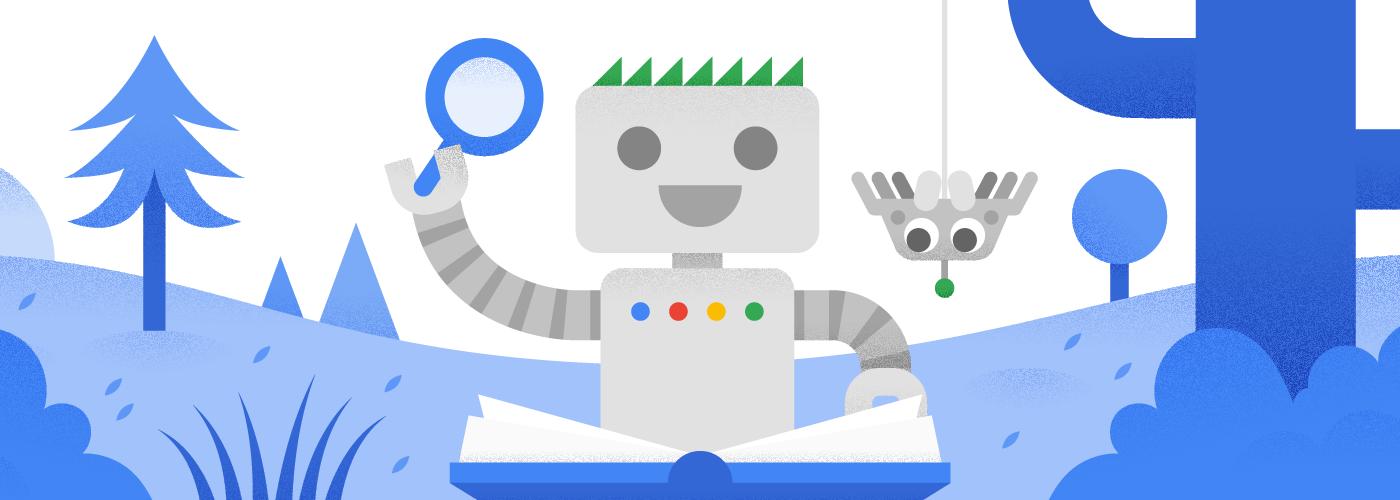 Робот Googlebot читает книгу вместе со своим новым другом– паучком