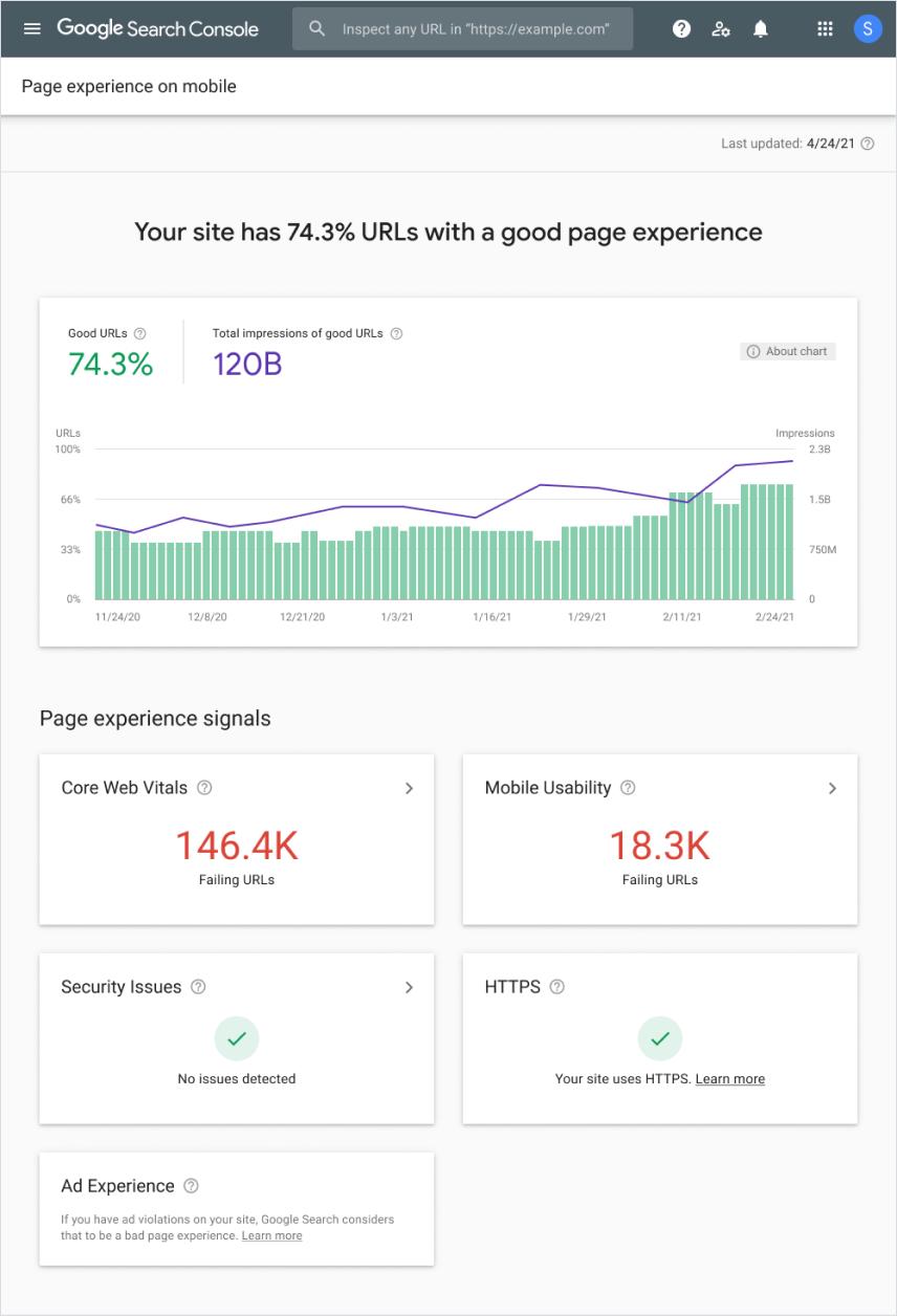 รายงานประสบการณ์การใช้งานหน้าเว็บใน Search Console