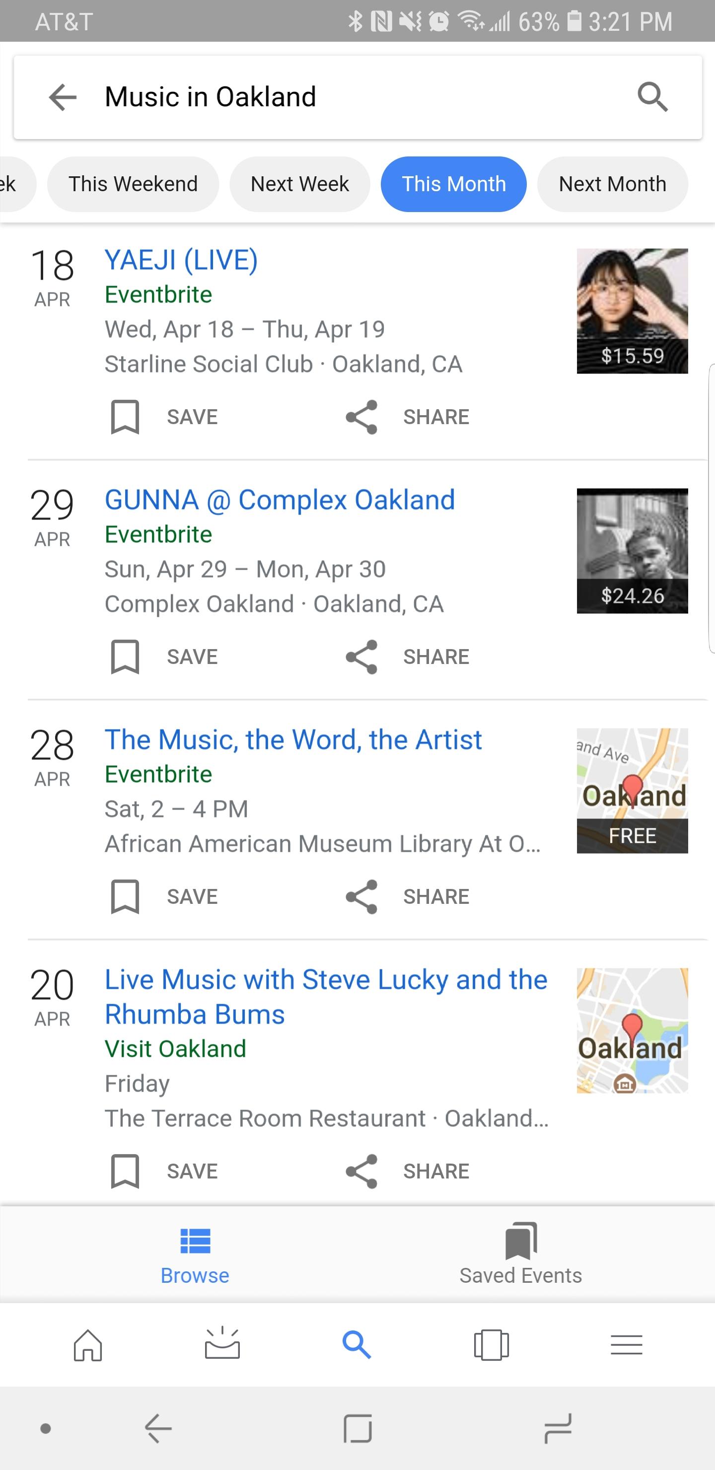 Ejemplo de evento en los resultados de la búsqueda