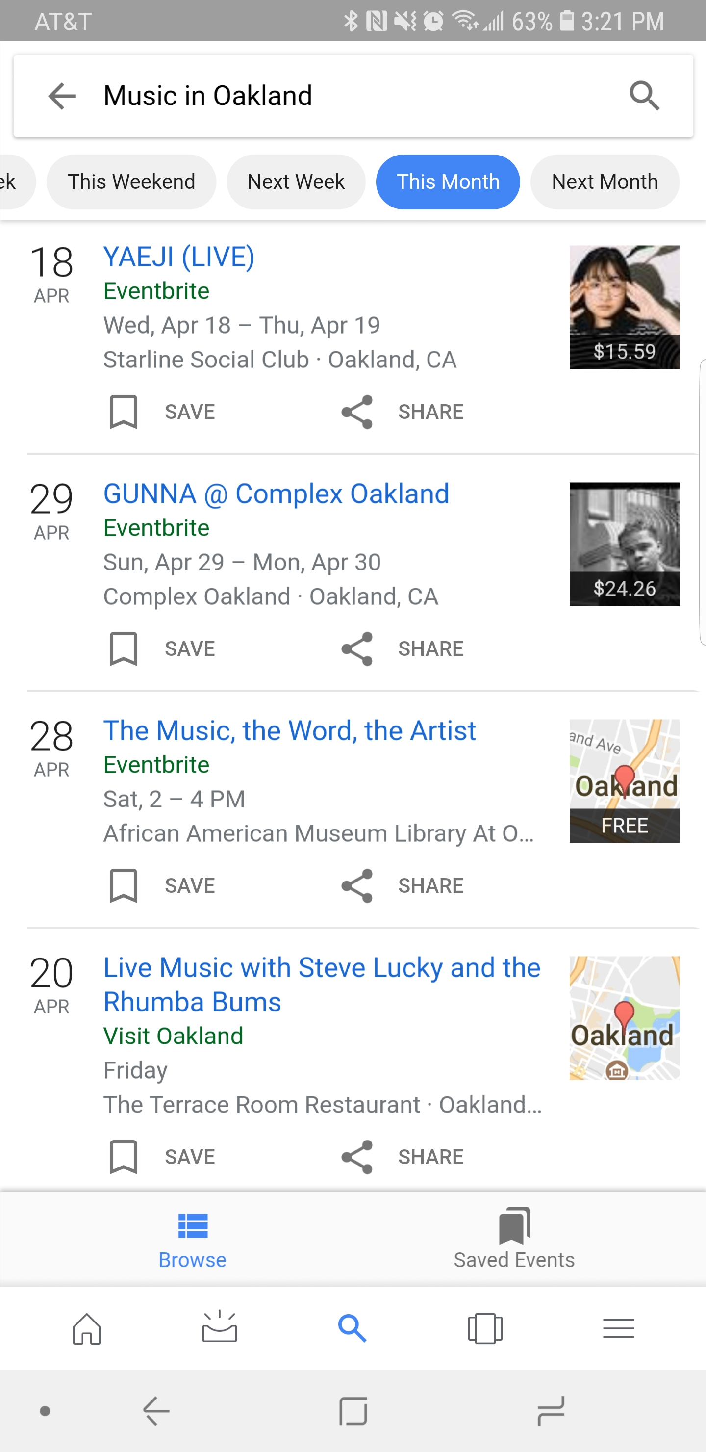 Event example in search results