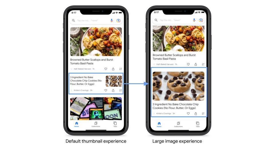 Стандартное изображение в сравнении с крупным изображением в рекомендациях