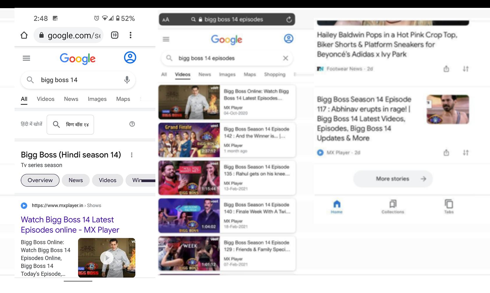 ウェブ検索、動画タブ、Discover の動画