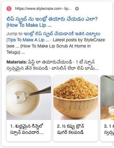 Ví dụ về nội dung Hướng dẫn trong kết quả tìm kiếm