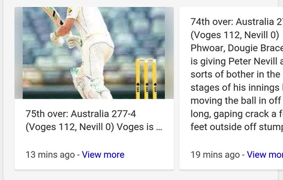 """Non-AMP results for """"top sport stories"""" showing an AMP page with an image and clip."""