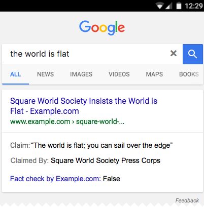 fact check example in search results