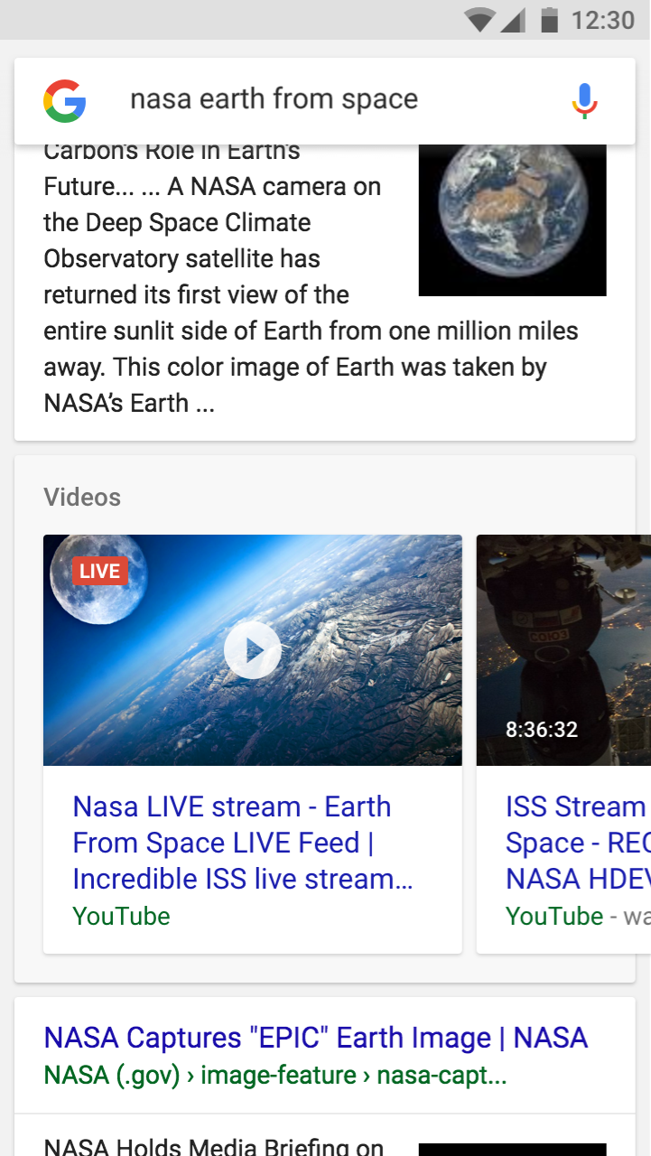 Example of a video in search results with a live badge