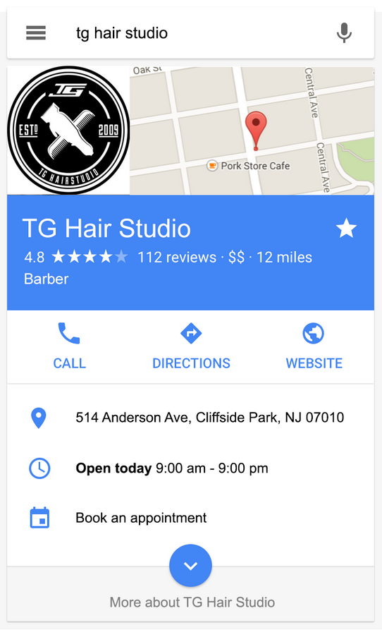 local business example in search results