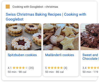 Recipe carousel in Google Search
