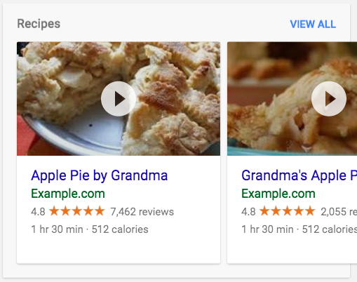 A carousel of recipes in search results. The carousel shows       2 cards about different types of pies. You can click to play a video.