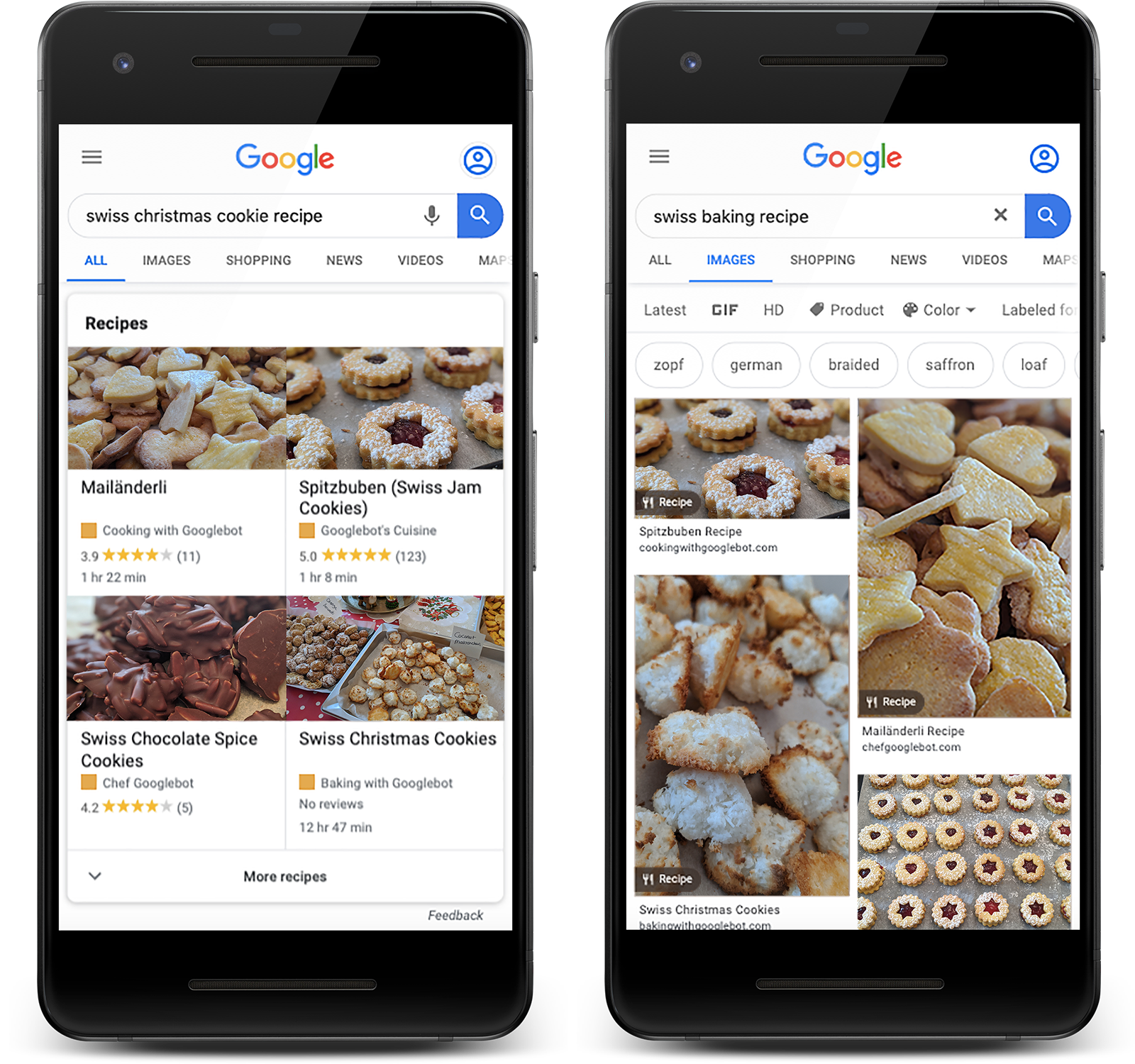 Recipes in Google Search and Google Images