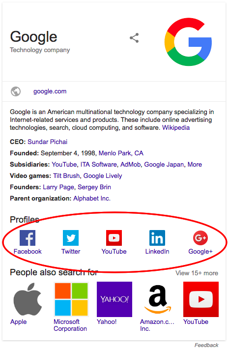 social profile example in search results