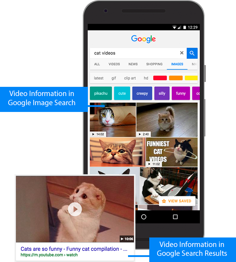 Example of a video rich result and videos in image search