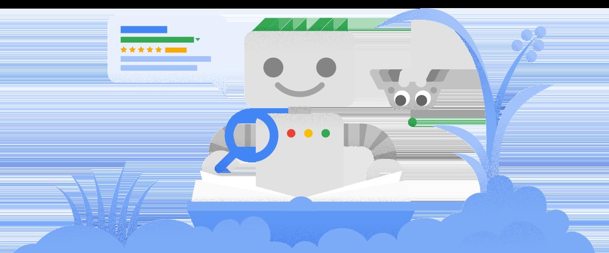 Der Googlebot und eine Website.