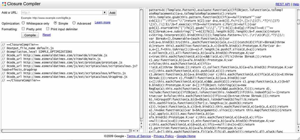 Screenshot of Closure Compiler web service