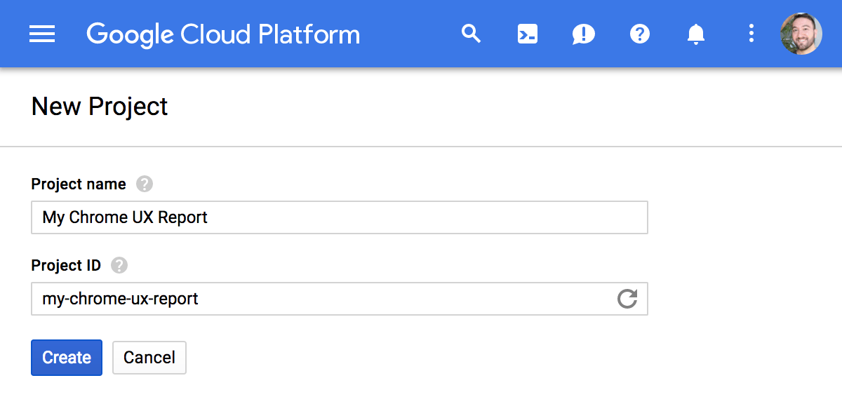 New Google Cloud Platform project