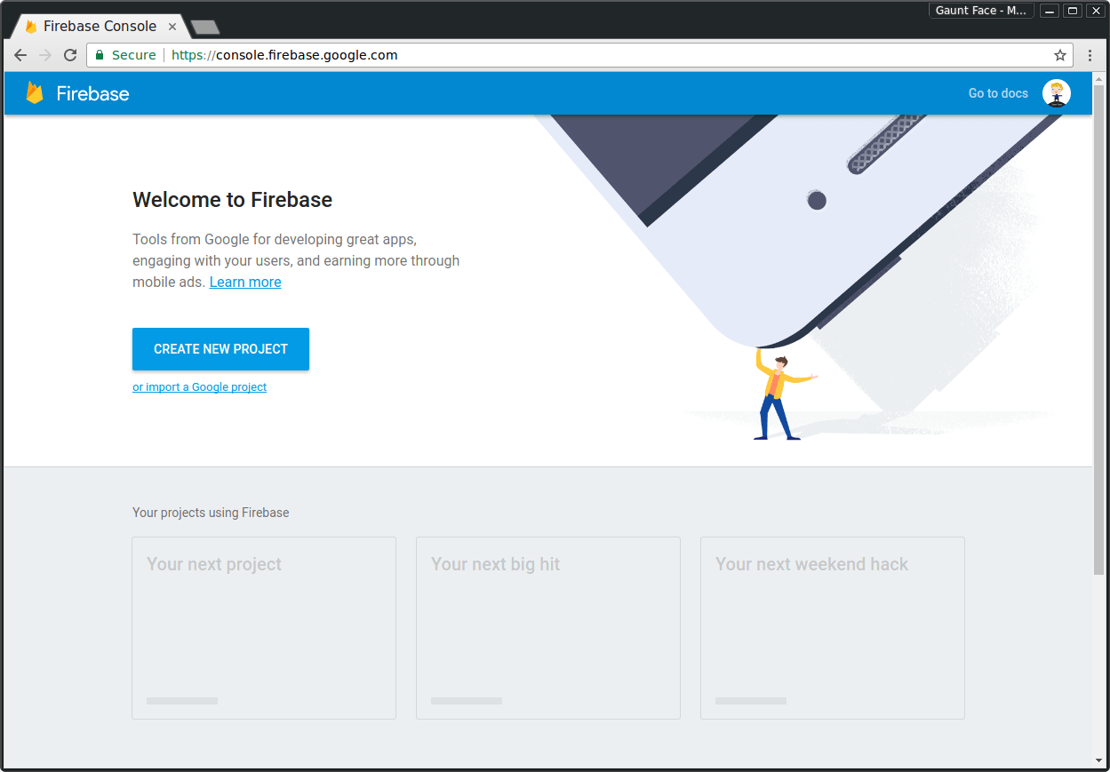 New Firebase Project Screenshot
