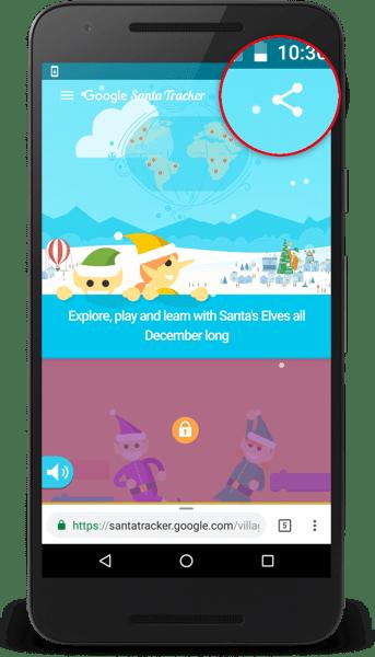 Santa Tracker share button