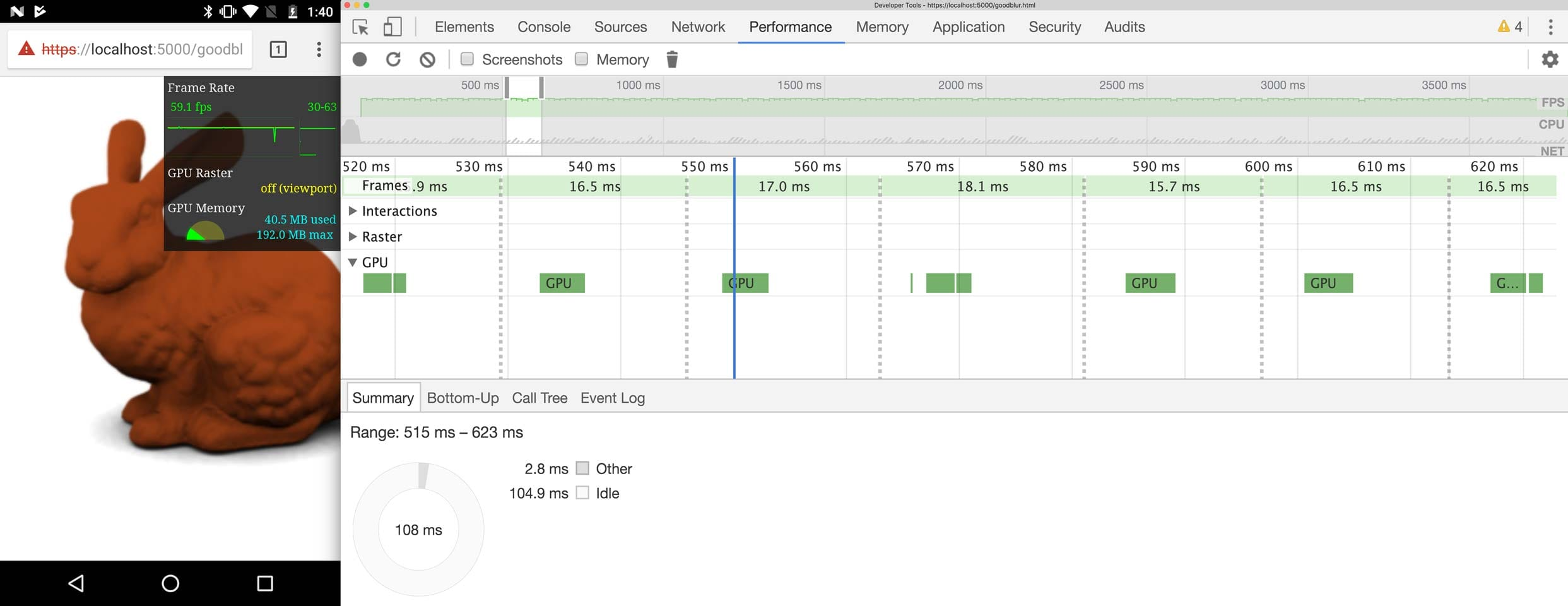 DevTools   showing a trace where the GPU has lots of idle time.