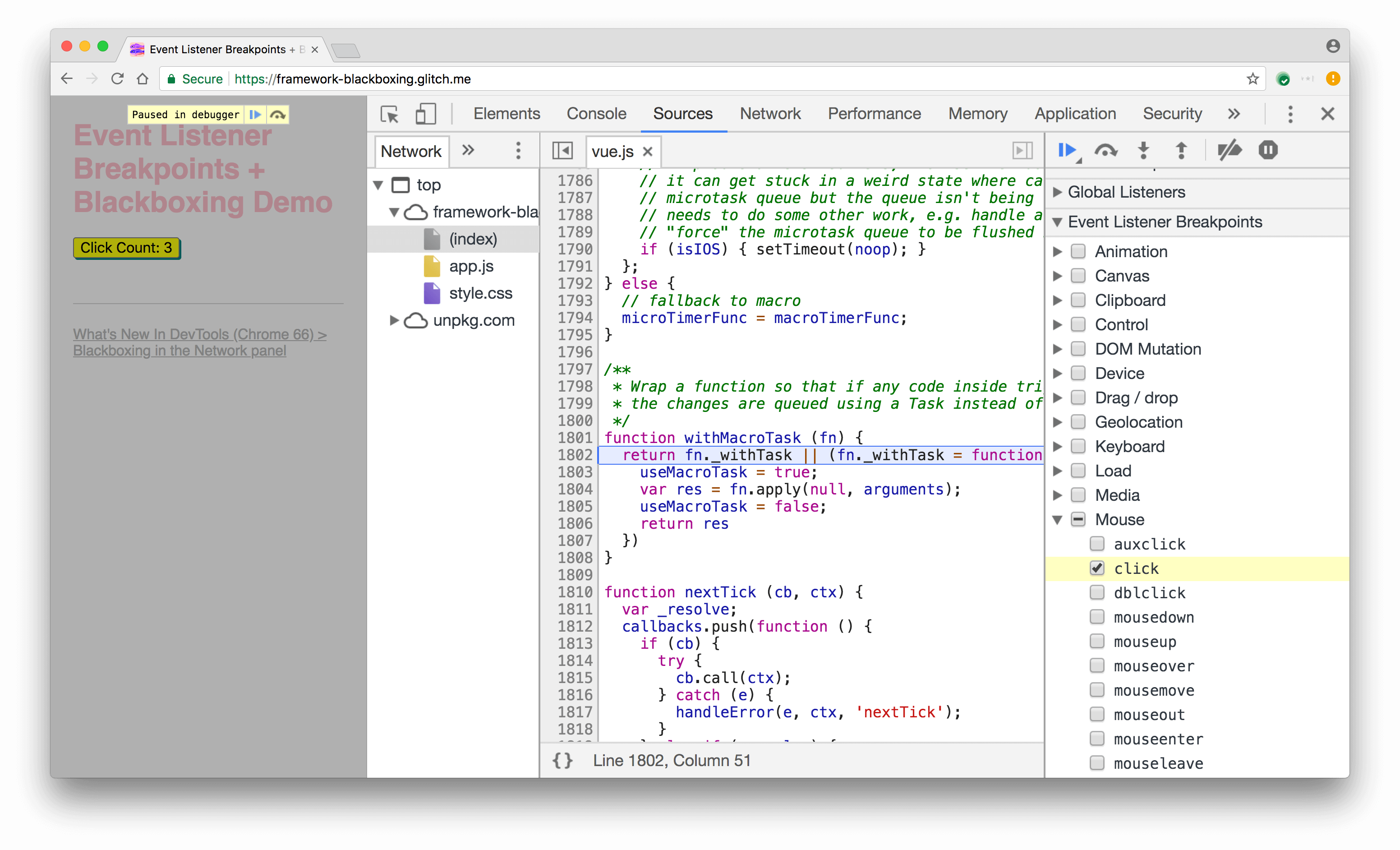 The click breakpoint pauses in Vue.js' wrapper code.