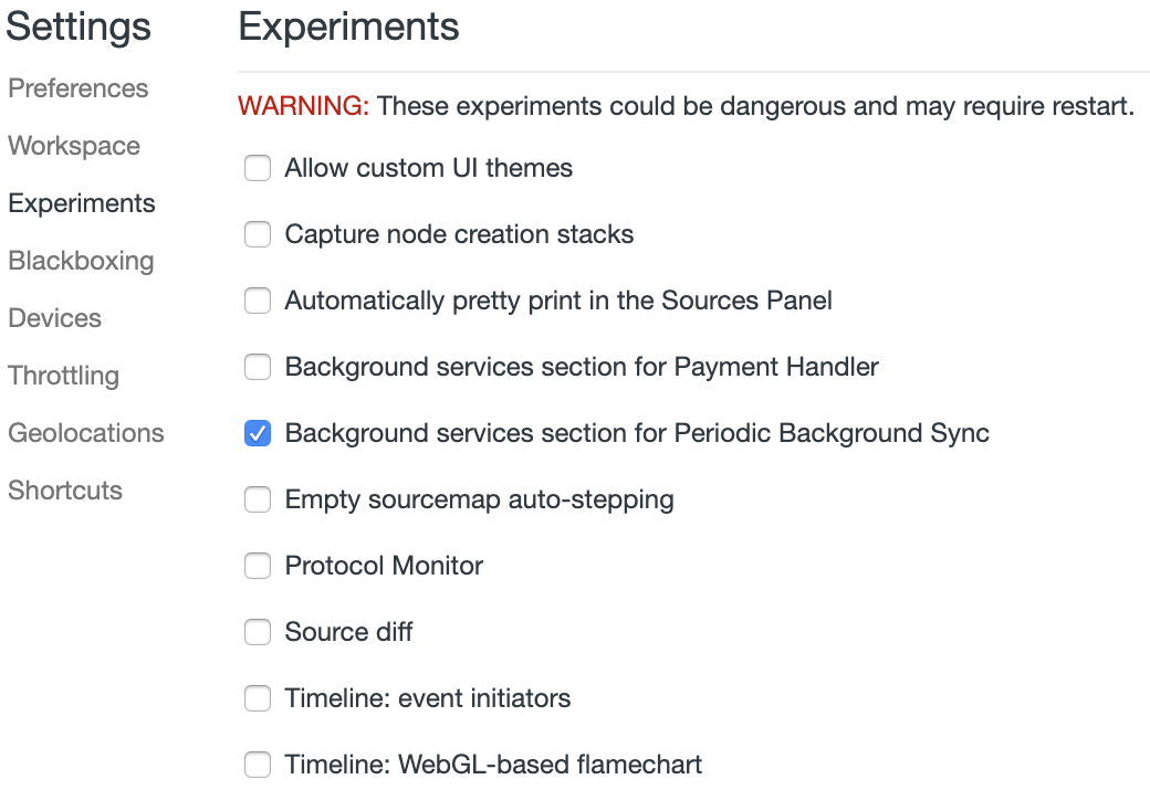 The background service section checkbox in DevTools