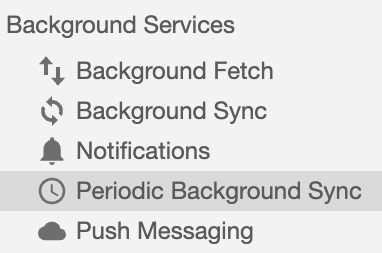The periodic background sync panel in DevTools